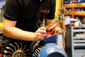 Electric test on Speck pump repair