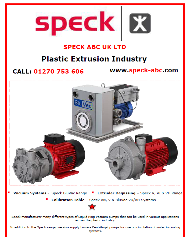 Speck pump plastic extrusion, VN, V, VU, VH range